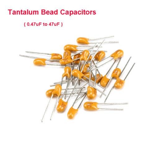DIP Tantalum Bead Capacitors Voltage 16V 25V 35V 50V 0.47uF to 47uF Pitch 2.54mm