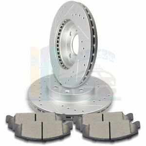 2X-Front-Discs-Brake-Rotors-and-4X-Pads-For-1990-2000-Honda-Civic-Drill-Slot