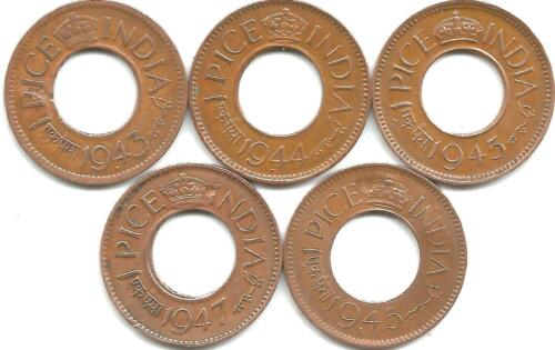 5 Hole coins Lahore British India Pice years 1943-44-45-47-1945 KE George VI