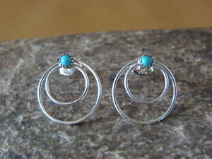 Navajo-Jewelry-Sterling-Silver-Circle-Hoop-Turquoise-Post-Earrings-by-Sylvia-Che