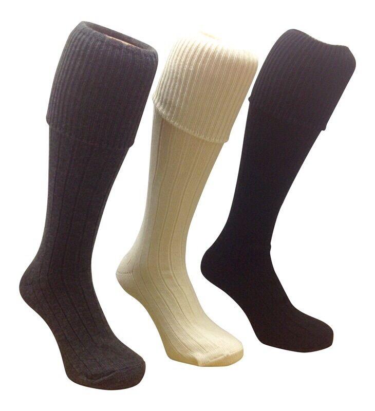 Men's Quality Kilt Hose Socks with Rib Turn Over Top wool mix knee High UK made