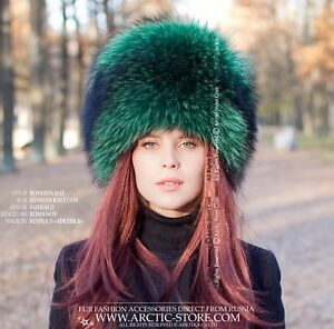 ac1e1290 Details about Emerald green Luxury Russian original women's raccoon fur hat  for a Lady