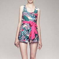 Dress Gallery $630 Pink Belted Romper Jungle Print Canvas Noumea Jumpsuit 40-f/8