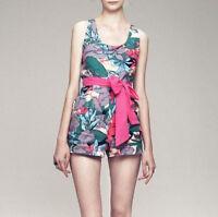 Dress Gallery $630 Pink Belted Romper Jungle Print Canvas Noumea Jumpsuit 40-f/8