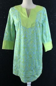 Lilly-amp-Van-Womens-Blue-Green-Printed-3-4-Sleeve-Tunic-Dress-Shirt-Blouse-Top