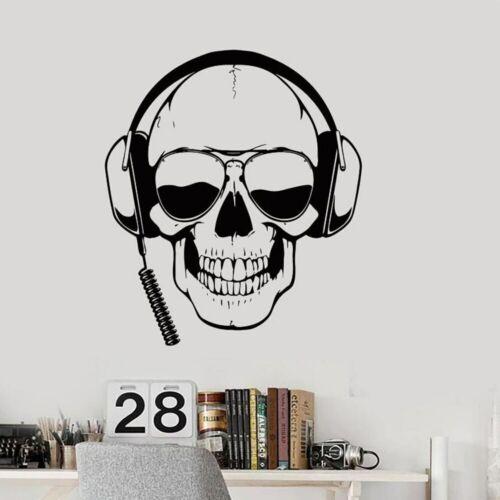 Skull Headphones Gamer Wall Art Stickers Sunglasses Boys Room Door Wall Tattoo
