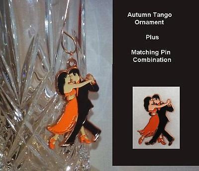 """Unique Ballroom Dance Gifts/Ornament & Pin - """"Autumn Tango"""" - Orange & Black"""
