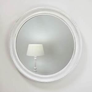 Rebecca white shabby chic round vintage wall mirror 35 x for Large white round mirror