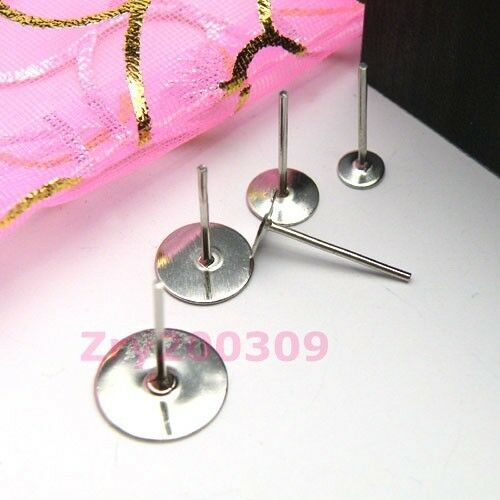 Dull Silver Plated Flat Pad Earring Post 4mm,6mm,8mm,10mm R0069
