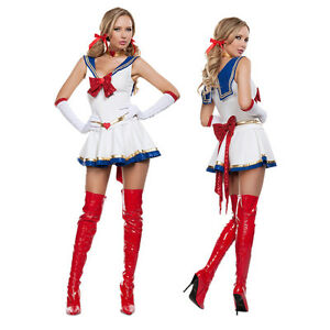 Image is loading Ladies-Anime-Sailor-Moon-Heroine-Costume-Girls-Sailormoon-  sc 1 st  eBay & Ladies Anime Sailor Moon Heroine Costume Girls Sailormoon Fancy ...
