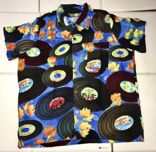New Bayou Wear New Orleans Jazz Fest Short Sleeve Shirt Records XL Button Down