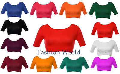 Womens Crop Top Ladies Short Sleeve Stretch Vest T Shirt Tee Sizes S/M & M/L