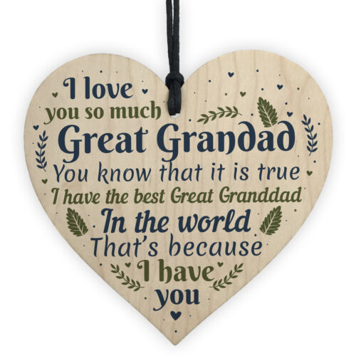 Great Grandad Ornament Heart Christmas Gift Grandad Announcement Plaque Sign