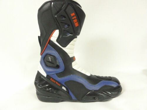 MOTORBIKE MOTORCYCLE RACING XTRM BLADE ARMOURED ON ROAD SPORTS BOOTS BLACK//BLUE