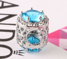 Fashion 925 Silver Exquisite Sky Blue CZ Charm Beads Fit sterling Bracelet A196