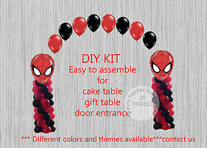 Super Heroes Spiderman Balloon Arch With Columns Birthday Party