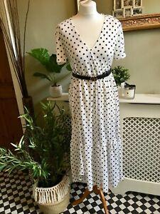 ZARA-Black-White-Polka-Dot-Print-Floaty-Midi-Dress-SMALL-BNWT-Ruffles-Boho
