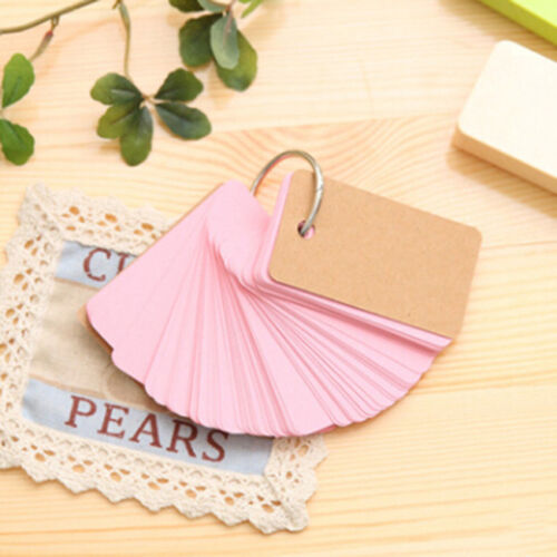 Candy Color Buckle Blank Memo Pad Flash Cards Memory Word Cards Note Pad 8C