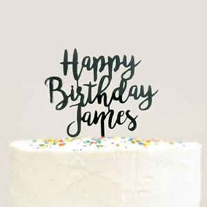 Fantastic Modern Cursive Custom Personalized Name Happy Birthday Cake Topper Funny Birthday Cards Online Alyptdamsfinfo