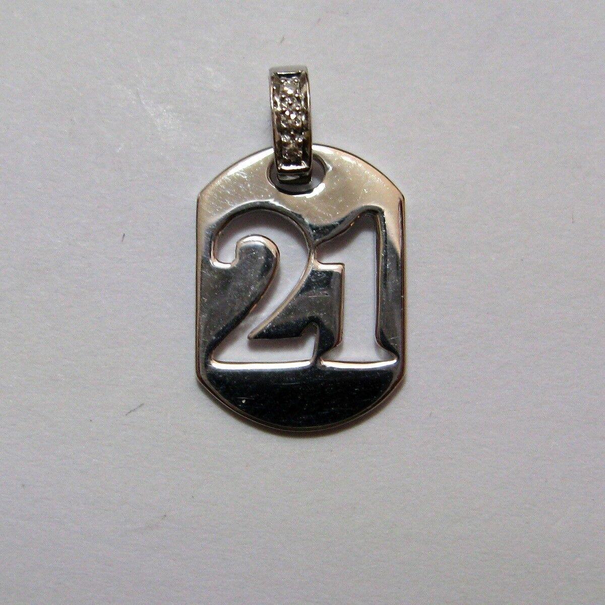 9CT gold whiteo y Diamante 21st Cumpleaños Perro Etiqueta Colgante