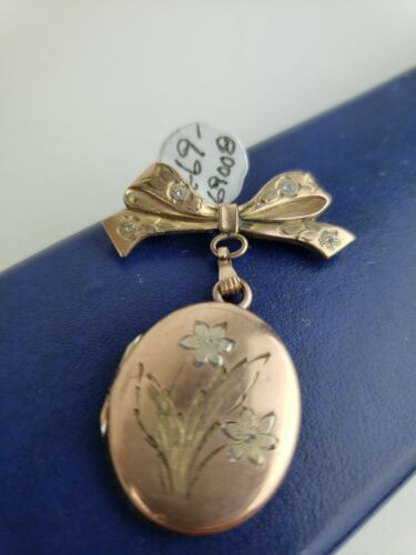 Great antique locket with photo, pendant, gold ca.