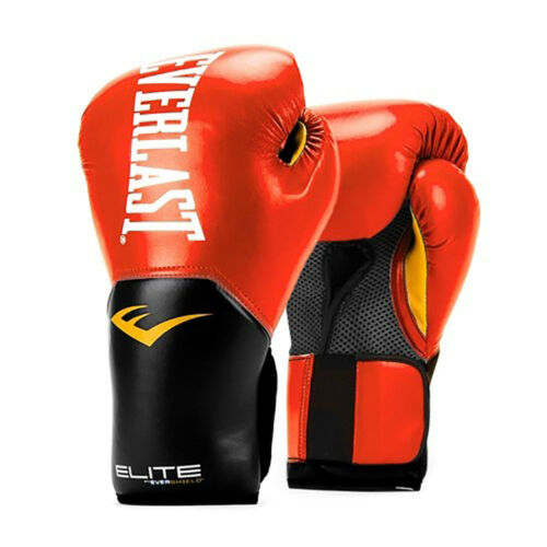 Everlast Elite Pro Style Leather Training Boxing Gloves Size 12 Ounces Red