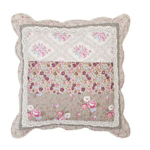 kissenbezug nellie grau rosa 50x50 spitze blumen floral shabby landhausstil ebay. Black Bedroom Furniture Sets. Home Design Ideas