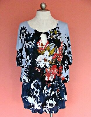 Women Cache Boho Chic Flowy Beaded Top S 6 8 10 On Off Shoulder Sweater Floral