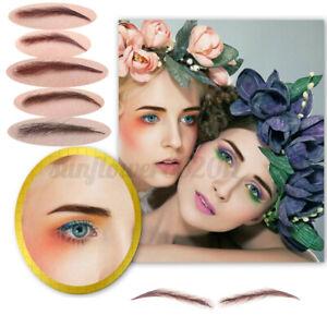 Reusable-High-Quality-false-100-Human-Hair-Lace-Base-Eyebrows-Wig-Brown