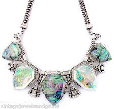 BLUE GREEN IRIDESCENT NORTHERN LIGHTS Silver Designer Pendant Statement Necklace