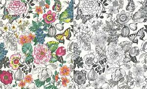Butterflies Leaf Floral Glitter Wallpaper Black White Pink Green Blue Paste Wall Ebay