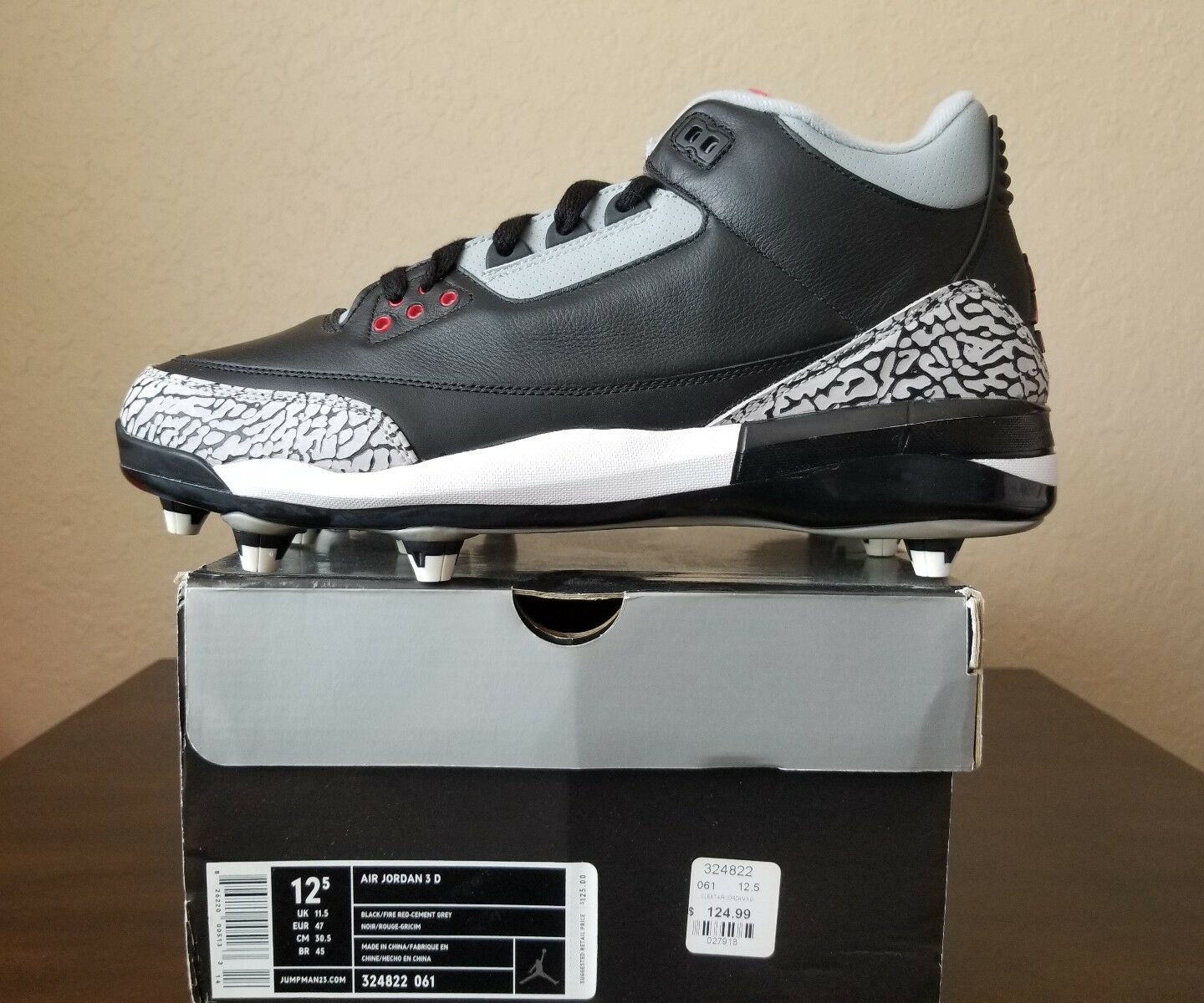 75115f3e82cd NEW IN BOX Nike Air Jordan III 3D 3D 3D Football Cleats Mens Size ...