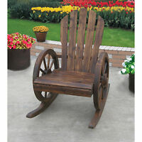 Wagon Wheel Rocking Chair Fir Wood Flame Burnt Finish Porch Patio