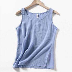Details about  /Women Linen Cotton Tank Top Vest Camisole Plain Basic Sleeveless Shirts Casual