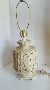 Vintage Off White Wicker Table Lamp