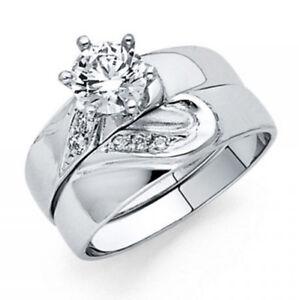 Simulate-Diamond-Matching-Band-Heart-Engagement-Set-Bridal-Ring-14K-White-Gold