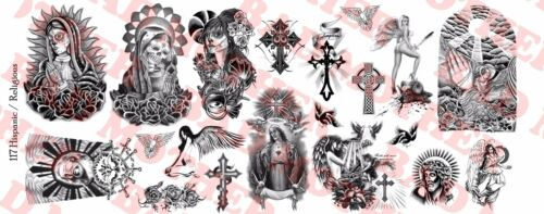 Waterslide Decals 1//6 Scale Custom Tattoos Hispanic and Religious pack