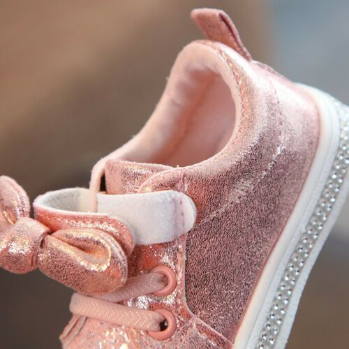 Child Baby Kids Girl Shoes Bling Sequins Bow Crystal Run Sport Sneakers Shoes FO