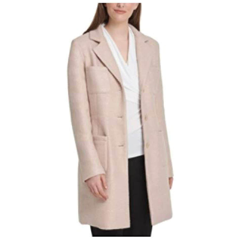 MSRP DKNY Foil-Bouc Four-Pocket Topper Jacket Pink Size 6