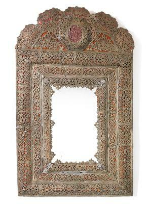 A SWEDISH BAROQUE LEAD MIRROR, LAST QUARTER 17TH CENTURY |