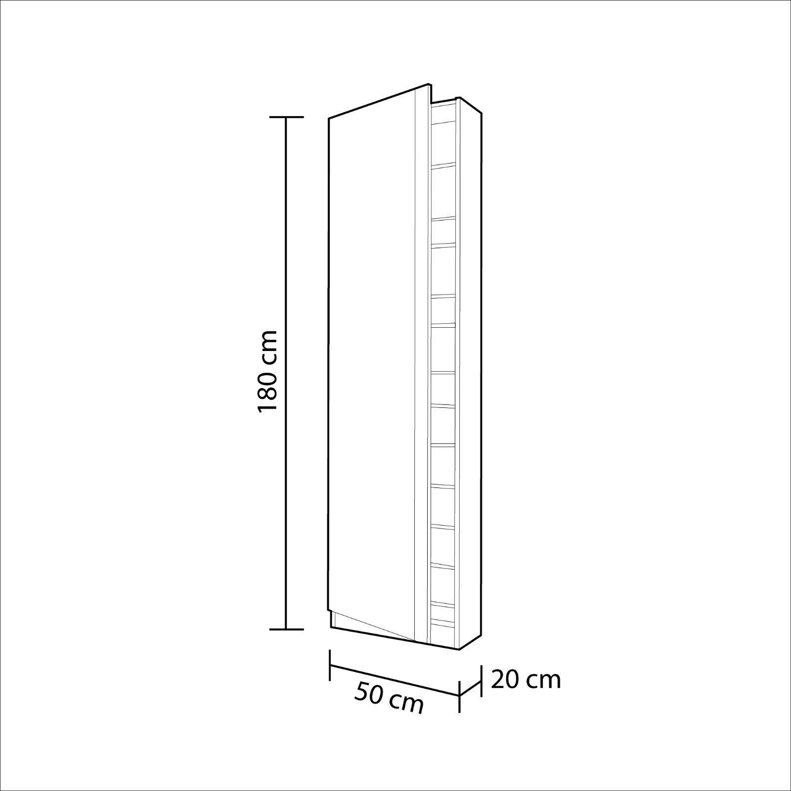 s l1600 - Mueble zapatero con puerta cristal espejo, armario zapatero  Roble Canadian