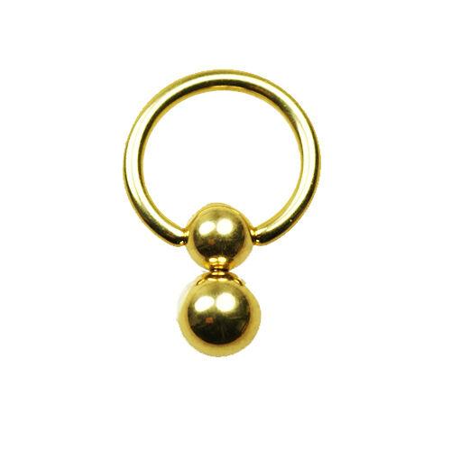1.6mm Gold Doppel Klemmkugel Ring Intim Brust Ohr Piercing K:5+6mm