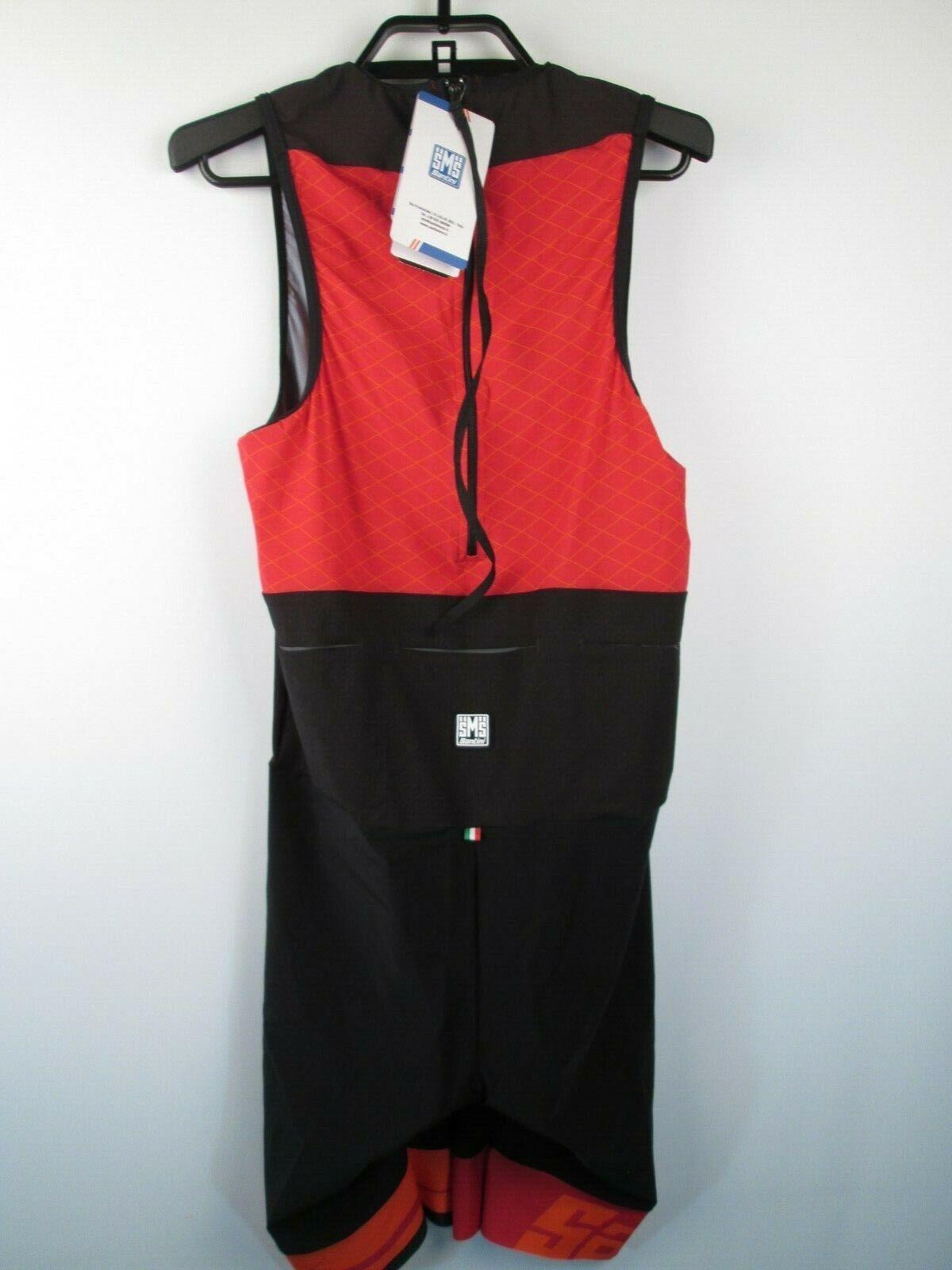 SANTINI Reux Trisuit Skinsuit Sleeveless rot Herren XL NWT Radfahren Suit
