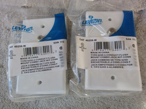 Leviton 40259-W White Flush Mount Comb Telephone Jack w F Conn Lot of 3 New