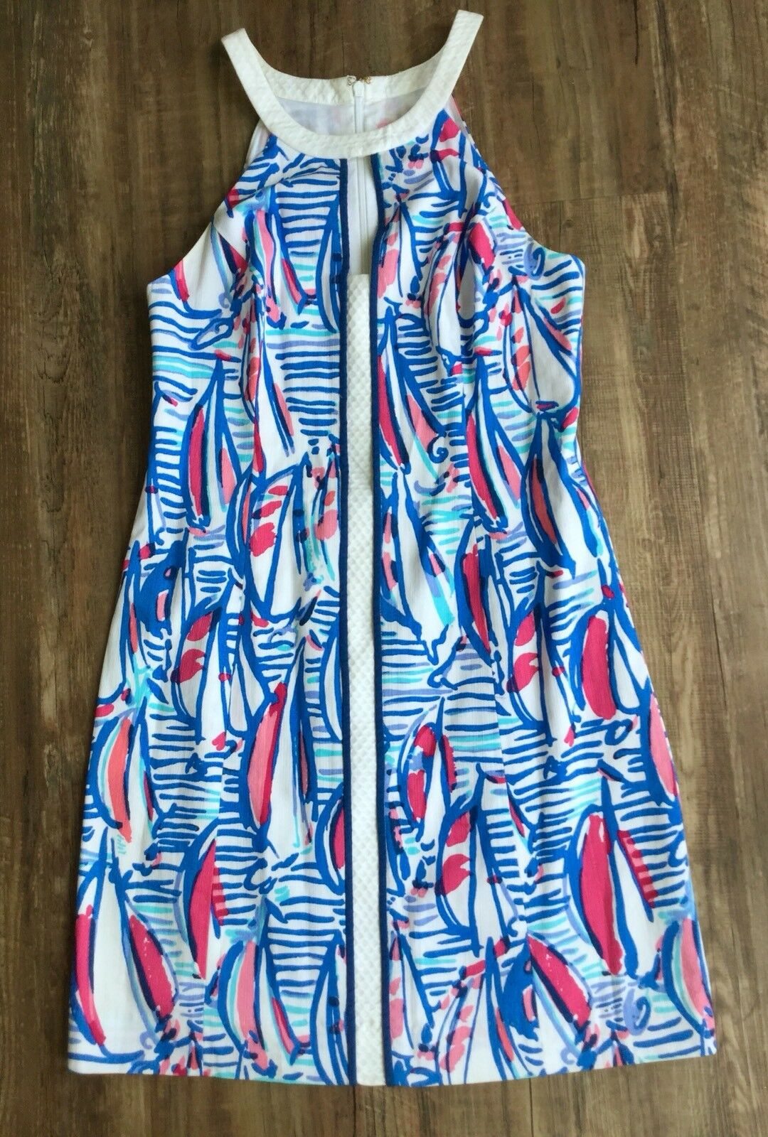 Lilly Pulitzer Size 4 Red Red Red Right Return RRR Coastal Sailboat Pearl Shift Dress d8bf8b