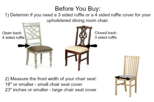 Linen Dining Room Chair Seat Cover Slipcover 4 sided Ruffle White Small