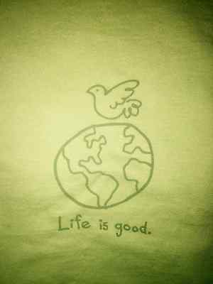 Life Is Good Womens T Shirt S/S Medium Classic Fit Planet Earth Peace Dove NWT