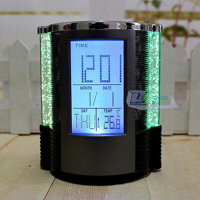 Desktop LED Color Light Alarm Clock Pen Holder with Calendar and Temperature Hot