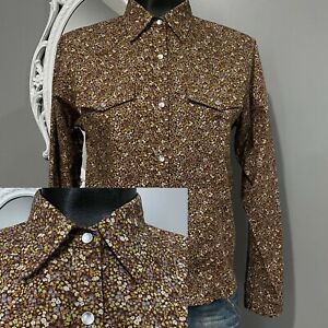 Medium-Petite-PM-RALPH-LAUREN-Brown-Tiny-Vintage-Floral-Western-Prairie-Shirt