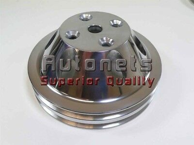 Small Block Fits Chevy Alum Long Pump Double Groove Upper Pulley